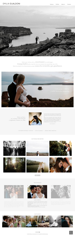 Web diseñada y desarrollada para la fotógrafa Emilia Gualdoni, historias con amor