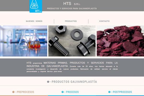 Portada web HTS SRL Productos y servicios de Galvanoplastía. Página diseñada y desarrollada por lavueltaweb.com