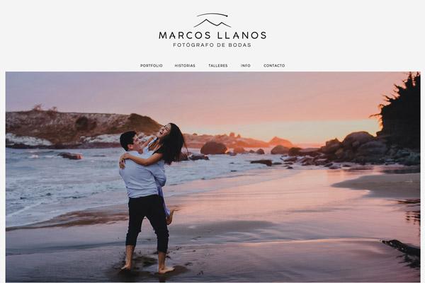 Portada de la web del fotógrafo Marcos Llanos. diseño y desarrollo La Vuelta Web