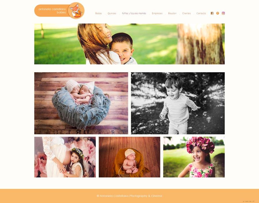 Pagina web sobre fotografia de familia, futuras mamás y bebes para Antonela Castellano por La Vuelta Web
