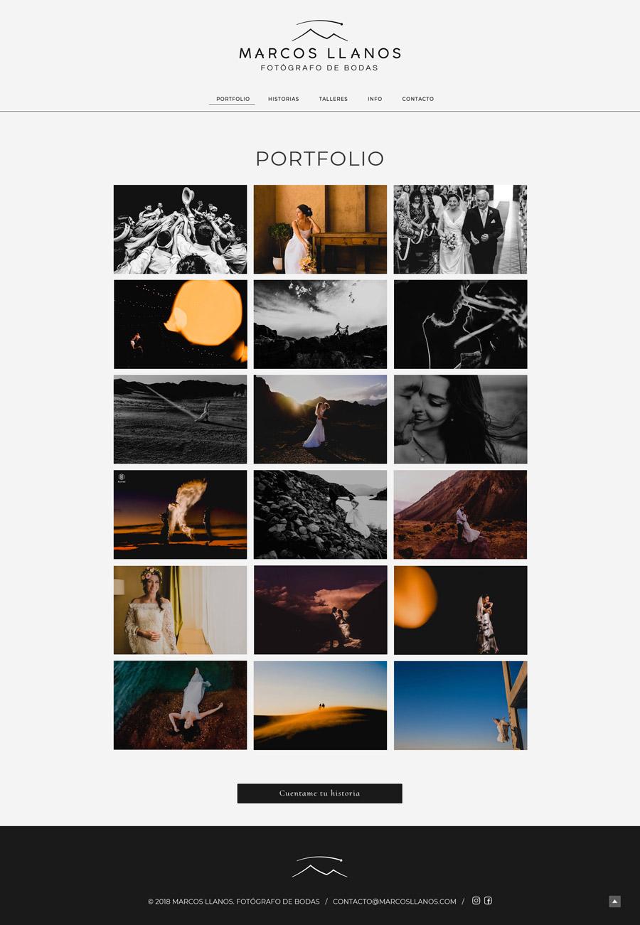 Sección Portfolio de la web de Marcos Llanos, fotógrafo de bodas. Website designed and developed by La Vuelta Web