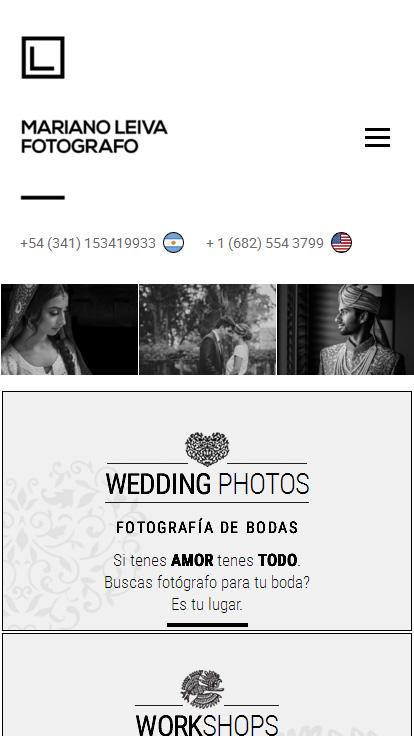 Web del fotógrafo Mariano Leiva de Rosario, versión móvil, realizado por La Vuelta Web