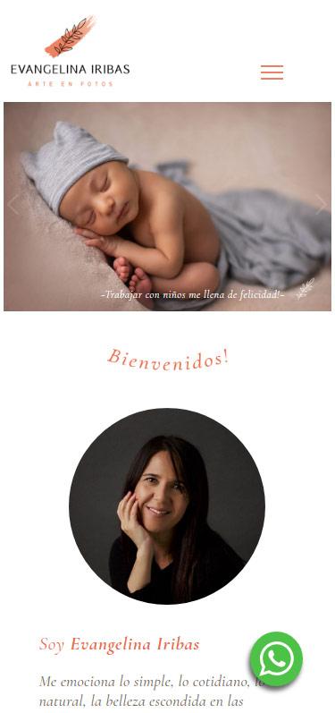 Responsive web design de Evangelina Iribas fotógrafa realizado por lavueltaweb