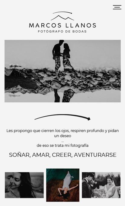 Responsive web design by La Vuelta Web para Marcos Llanos, Fotógrafo de bodas.