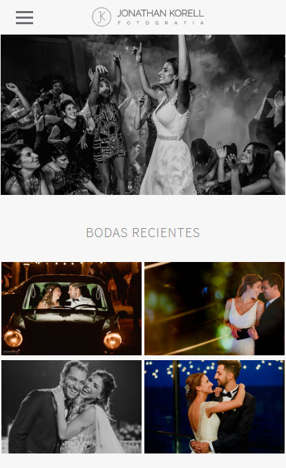Web de fotografía versión móvil, Jonathan Korell, realizada por La Vuelta Web