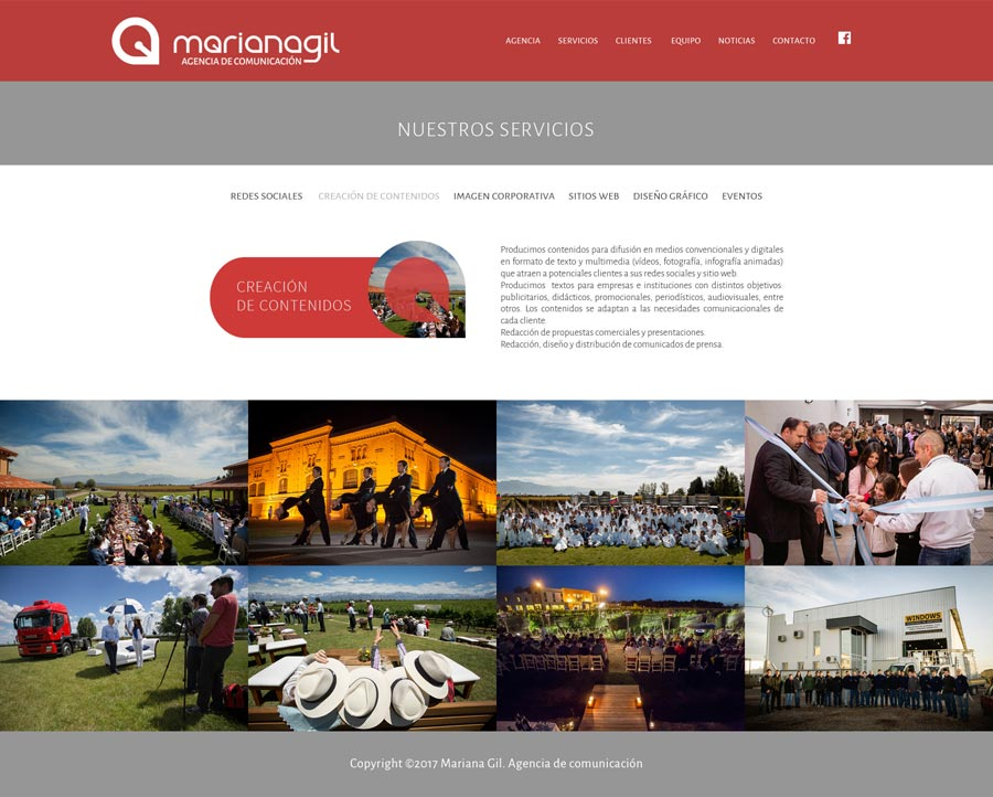 Community manager, estrategias de marketing, página web de la Agencia de comunicación Mariana Gil por La Vuelta Web.