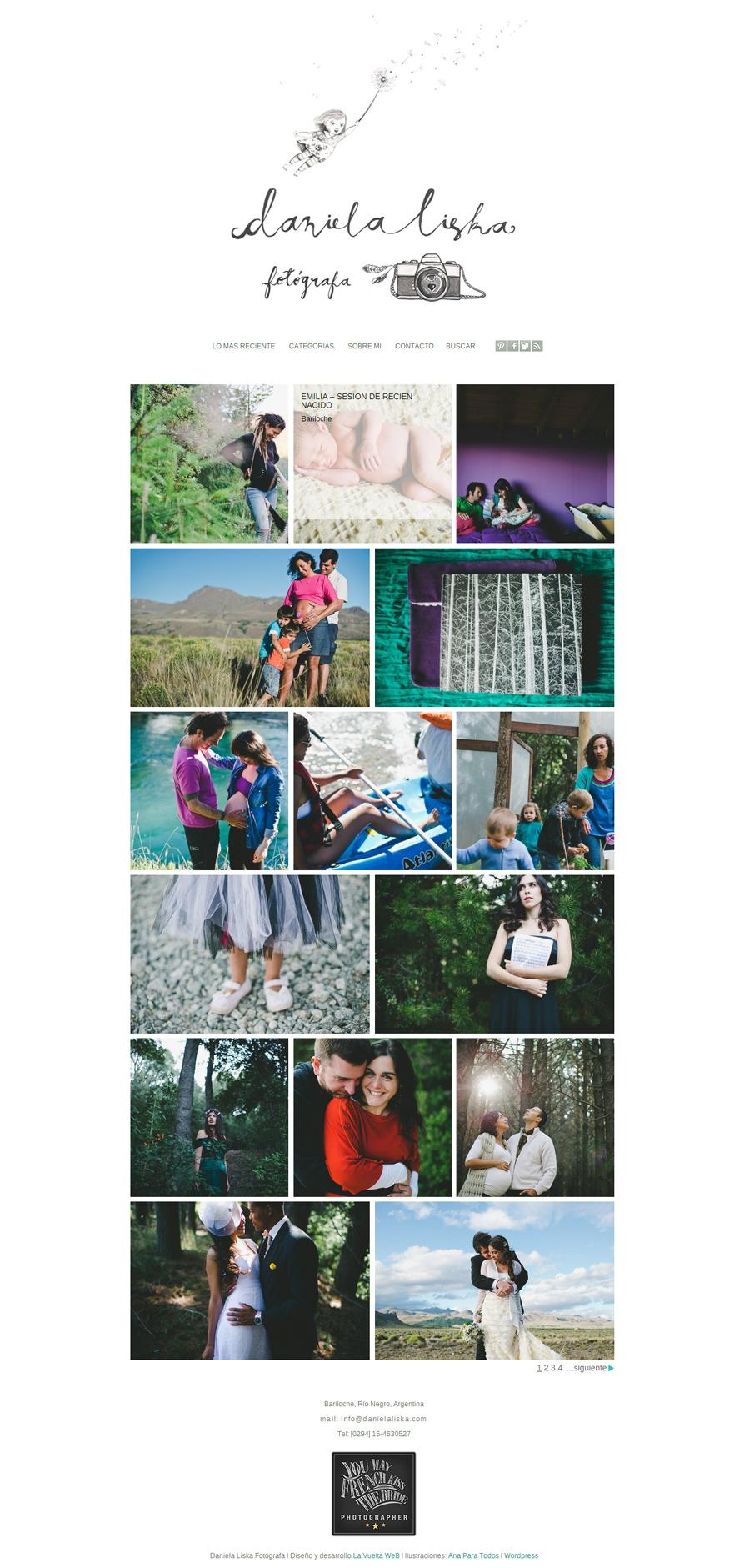 Home del sitio web de la fotógrafa documental Daniela Liska desarrollado por La Vuelta Web