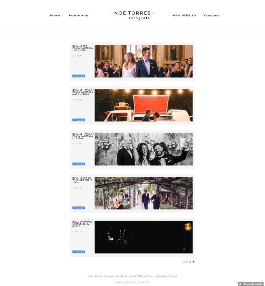 Sección fotografía de bodas, web de la fotógrafa Noe Torres, desarrollado por La Vuelta Web