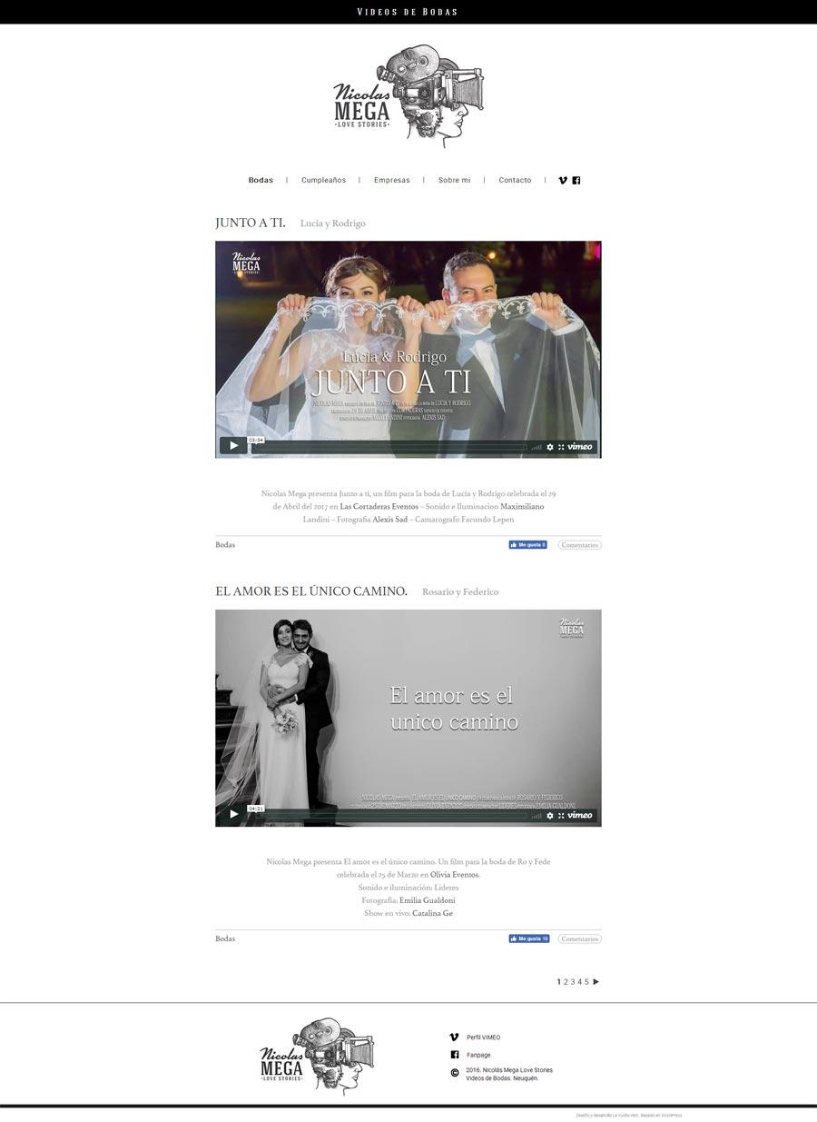 pagina web para el realizador de videos de eventos Nicolas Mega por La Vuelta Web