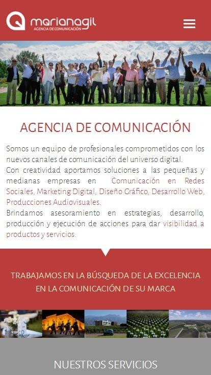 Web adaptable a móviles, desarrollada por La Vuelta Web. Mariana Gil Agencia de comunicación, Mendoza