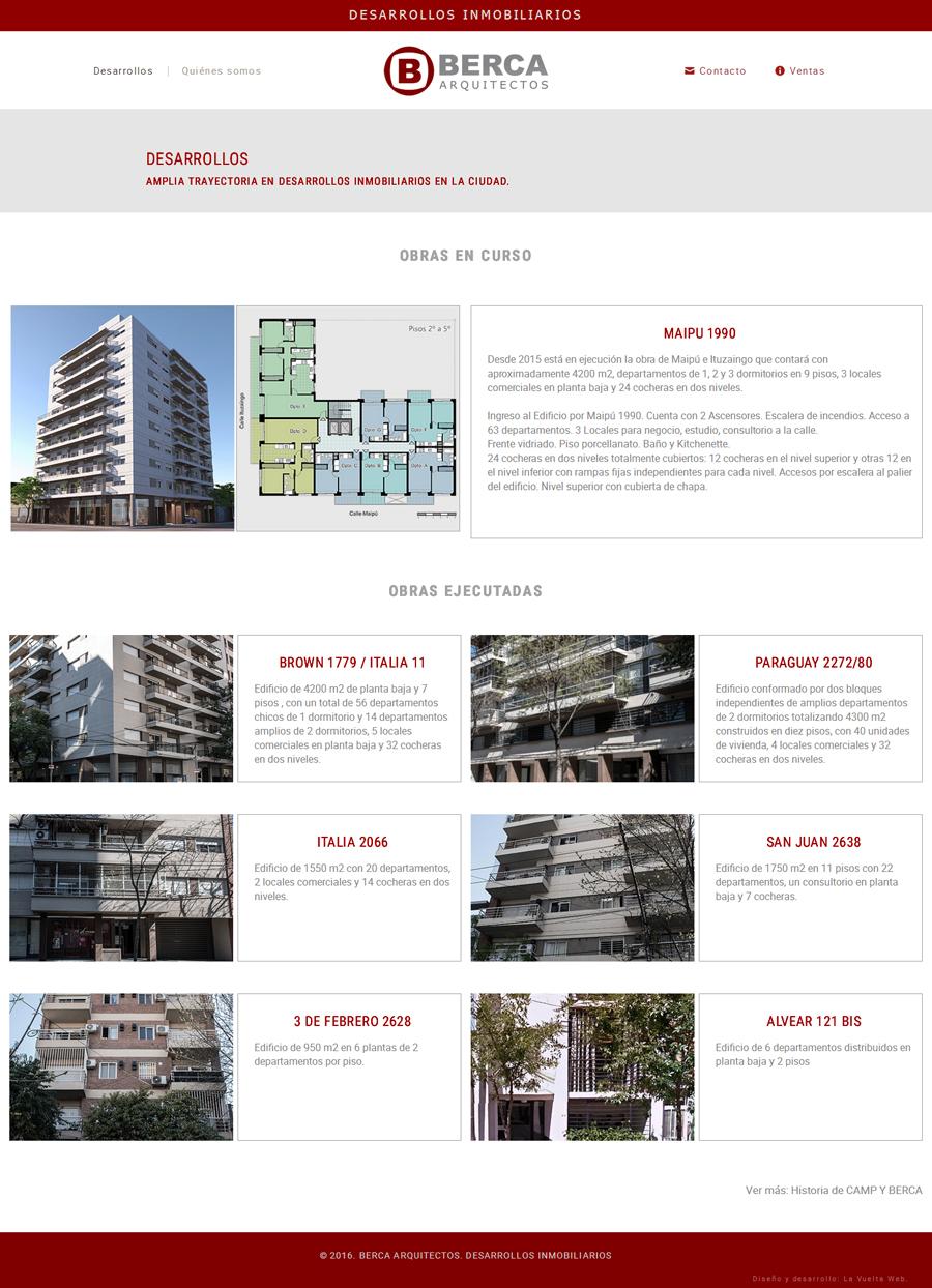 Página sobre los desarrollos ejecutados por Berca Arquitectos. Web desarrollada por La Vuelta Web