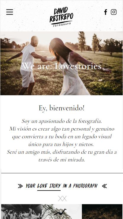 Portada website responsive design de David Restrepo, fotógrafo de bodas. Diseño y desarrollo lavueltaweb.com
