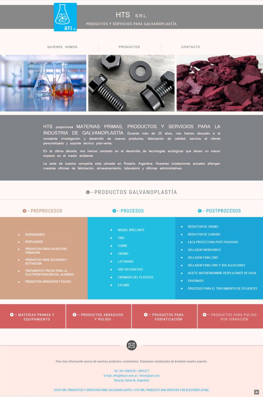 Web diseñada y desarrollada por lavueltaweb para la empresa HTS SRL Productos y servicios de Galvanoplastía. Páginas industria