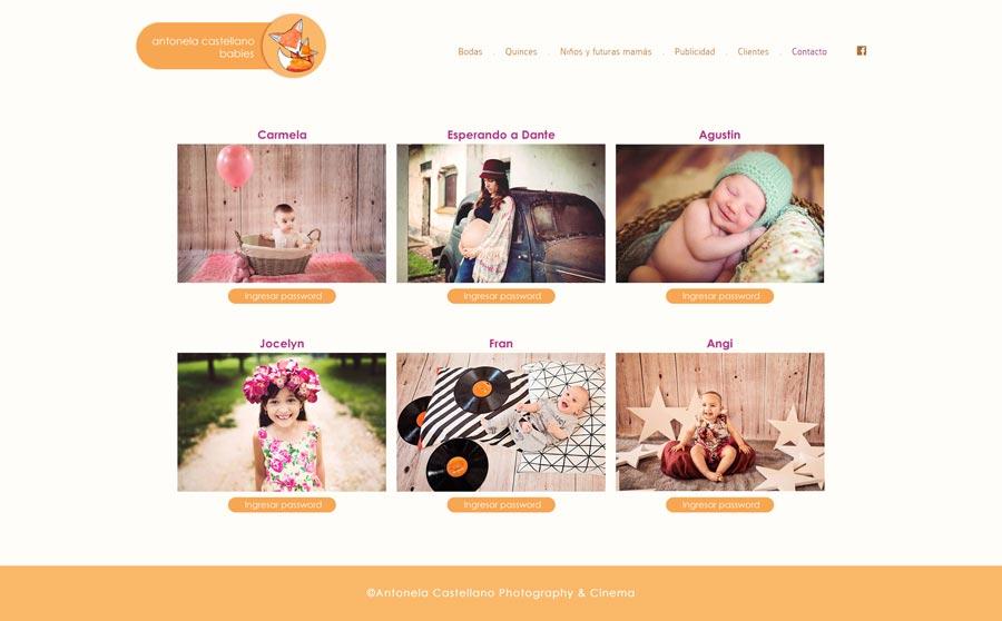 Web, sección Clientes. Fotografia de familia, futuras mamás y bebes para Antonela Castellano por La Vuelta Web
