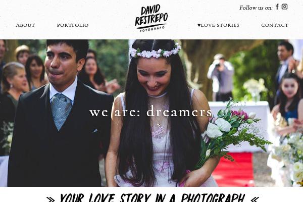Portada de la web de David Restrepo, fotógrafo de bodas. lavueltaweb.com