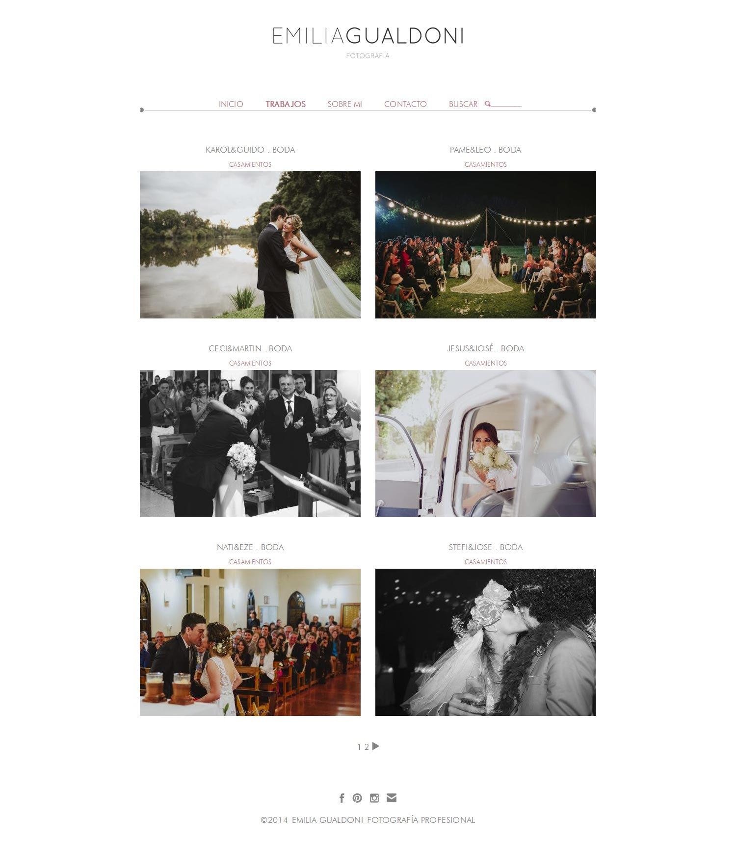 Fotografías de bodas de Emilia Gualdoni en su web