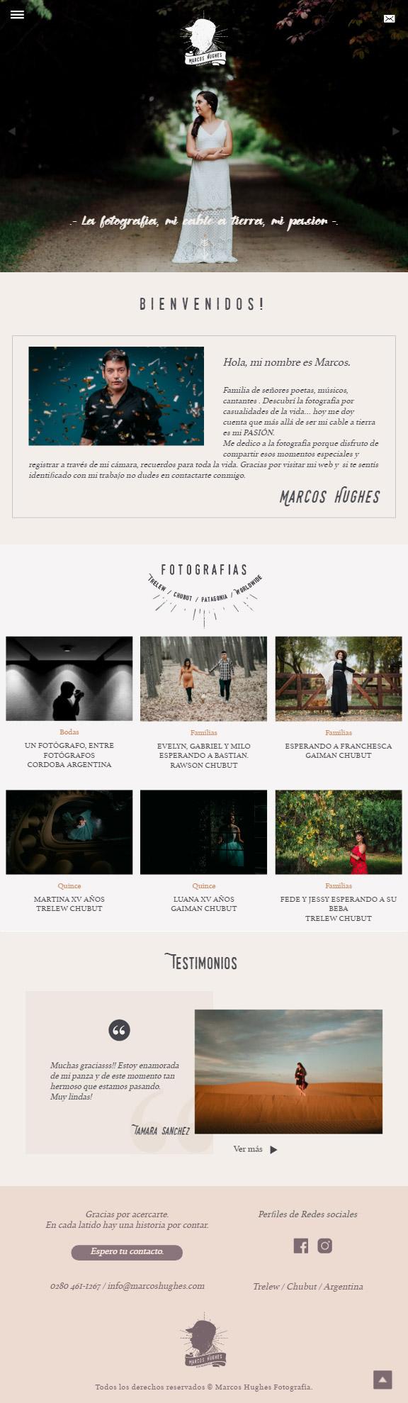 Versión Ipad página web diseñada y desarrollada por lavueltaweb.com para el fotógrafo Marcos Hugues