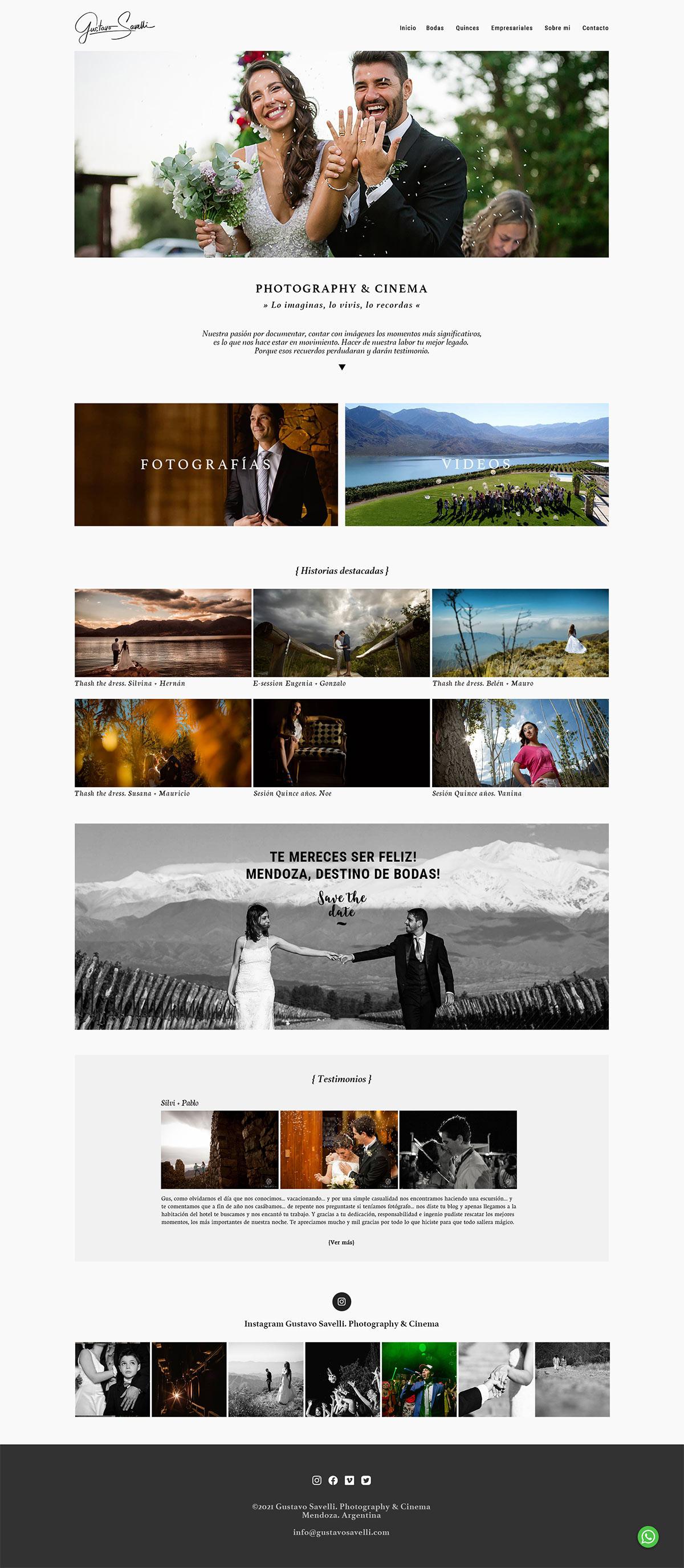 Sitio web del fotógrafo y cineasta Gustavo Savelli realizado por La Vuelta Web