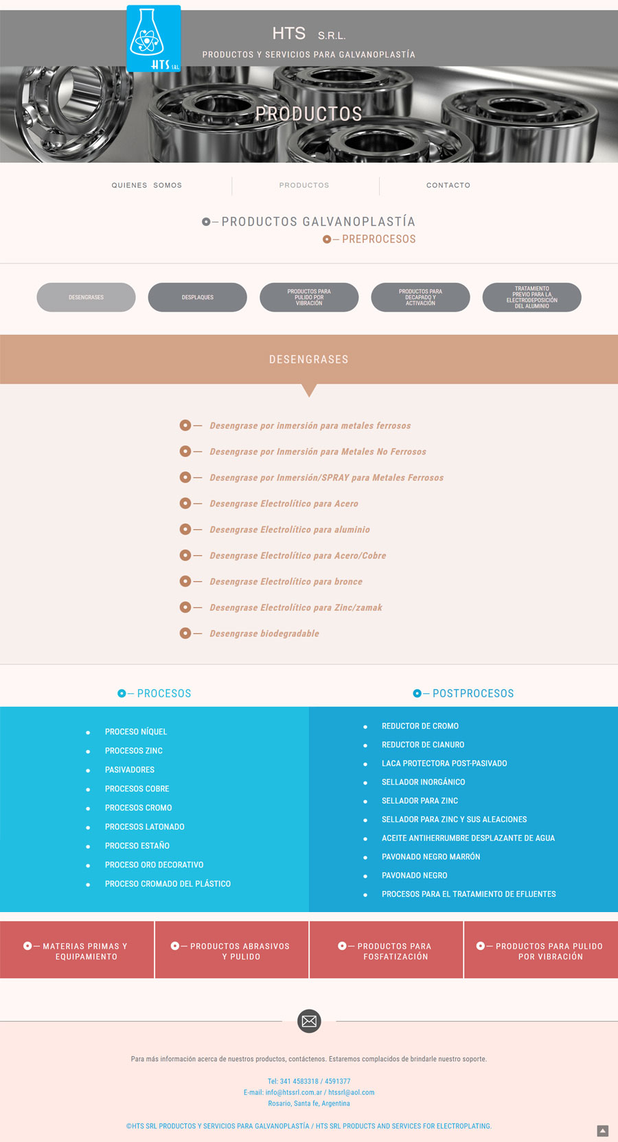 Web diseñada y desarrollada por lavueltaweb para la empresa HTS SRL Desengrases, desplaques, Productos y servicios de Galvanoplastía.