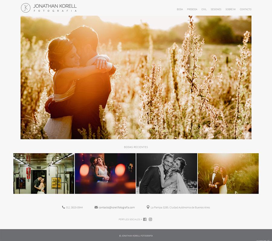 Portada web Jonathan Korell Fotografía de bodas,. sitio web realizado por La vuelta Web