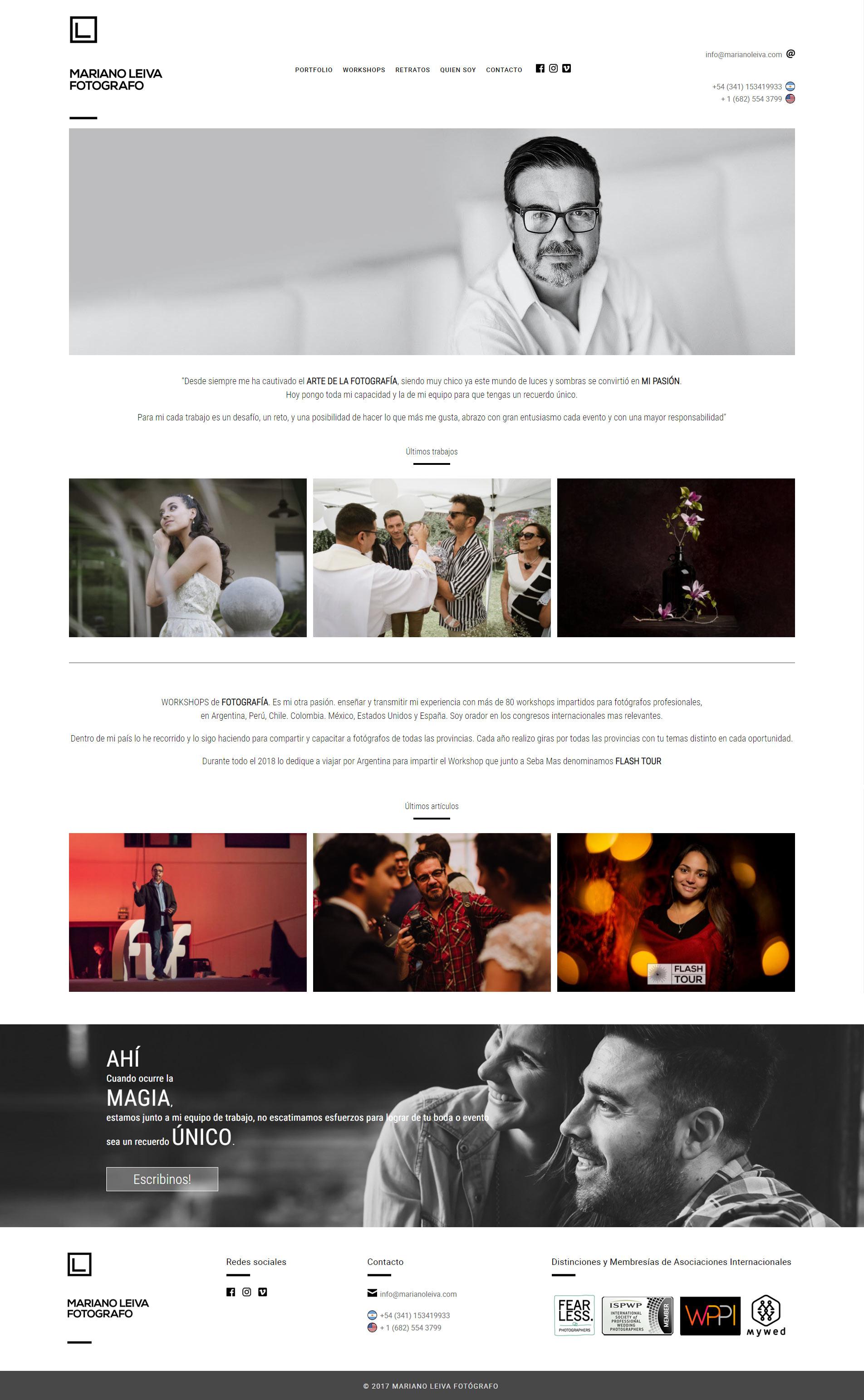 Web para el fotógrafo Mariano Leiva realizada por La Vuelta Web