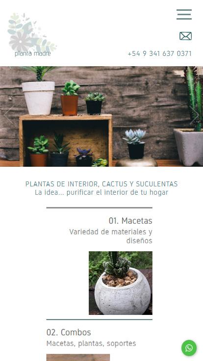 """web responsive design desarrollado por La Vuelta Web para """"planta madre"""""""