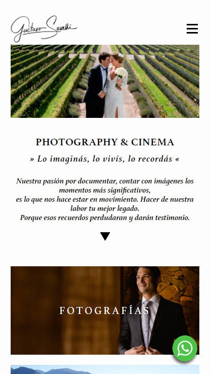 Web responsive design de Gustavo Savelli Photography & cinema, realizado por La Vuelta Web