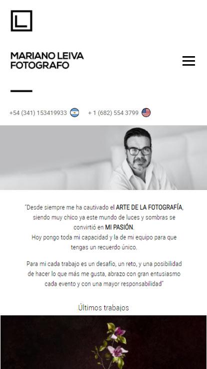 Web responsive design realizada por La Vuelta Web para Mariano Leiva Fotógrafo