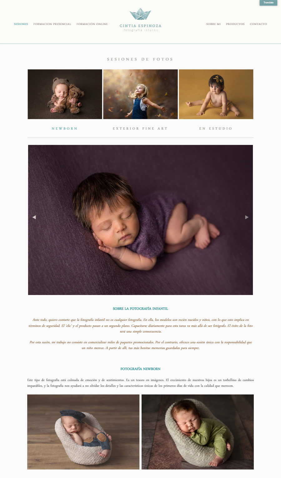 Sesiones de fotos de la web de Cintia Espinoza, fotógrafa infantil