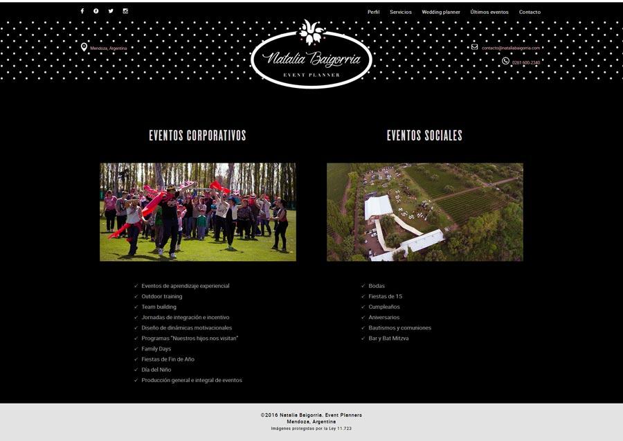 Portada sitio web ideado y realizado por La Vuelta Web para Natalia Baigorria Event Planner, Mendoza