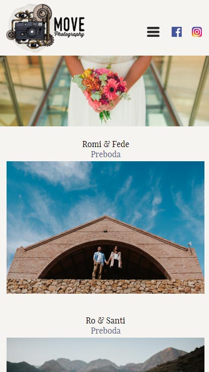 Sección fotografias de bodas, web de Move Photography desarrollado por La Vuelta Web