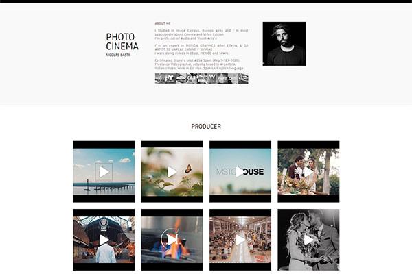 Web realizada para Nicolás Basta Videógrafo realizado por La Vuelta Web