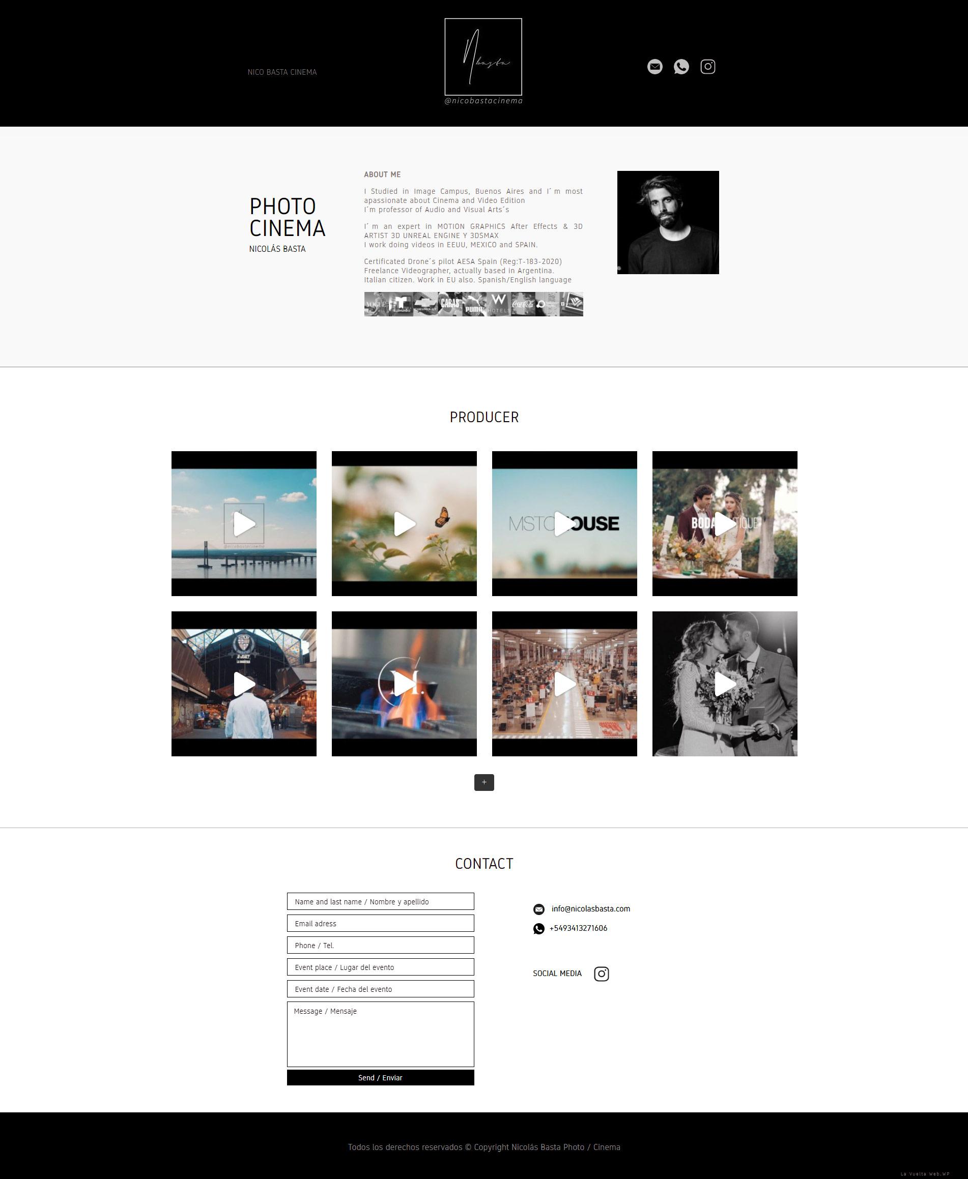Portada web, sitio realizado por La Vuelta Web para Nicolás Basta Cinema