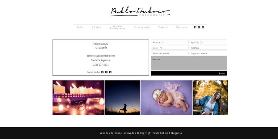 Web adaptable a móviles realizada por La Vuelta Web para Pablo Dubois Fotografía