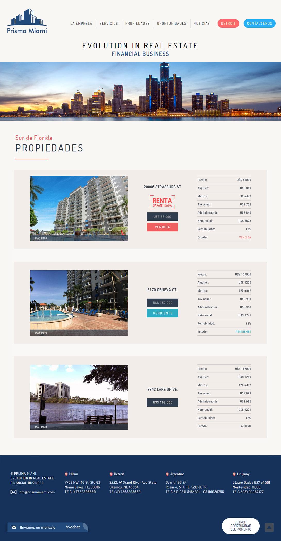 Web de Prisma Miami. Financial Business, desarrollada por La Vuelta Web